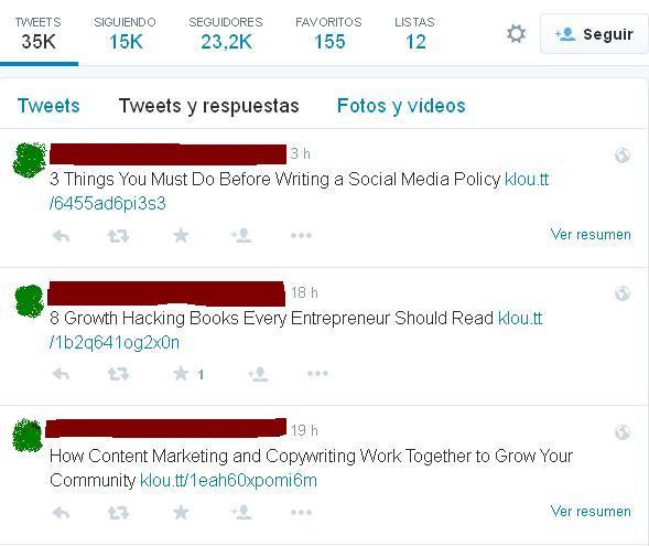 """Sus """"Tweets y respuestas"""": Siempre todo enlaces."""