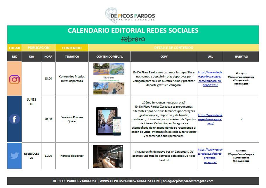 Calendario editorial redes